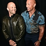 Jason Statham and Dwayne Johnson flashed friendly smiles at CinemaCon 2019 in Las Vegas.