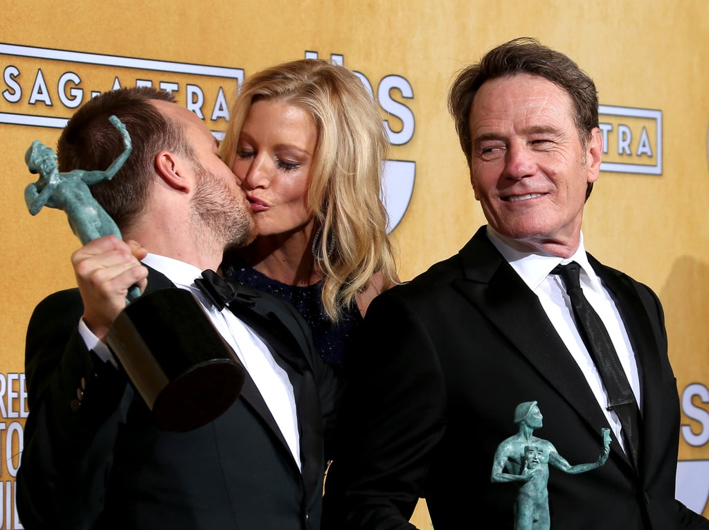 Anna Gunn and Aaron Paul celebrated their SAG Award win for Breaking Bad in the press room with Bryan Cranston.