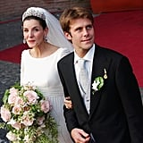 Prince Emanuele and Clotilde Courau The Bride: Clotilde Courau, a French actress. The Groom: ‪Emanuele Filiberto, Prince of Venice and Piedmont‬, grandson of the last king of Italy. When: Sept. 25, 2003. The bride was six months pregnant. Where: Rome's Basilica of Saint Mary of the Angels, where his grandparents had wed. Emanuele and his family had been in exile from Italy until 2002.