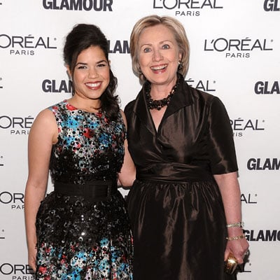 Hillary Clinton and America Ferrera at the Glamour Women of the Year Awards