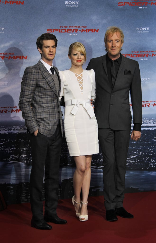 Andrew Garfield and Emma Stone smiled and waved to fans tonight at the Berlin premiere of The Amazing Spider-Man. The pair were once again joined on the red carpet by costar Rhys Ifans and director Marc Webb. The team's been jetting around the globe in recent days, with only a few more stops to go before next week's LA premiere. We'll be LIVE from The Amazing Spider-Man red carpet on Thursday, June 28 — make sure to check it out that evening at 9:30 p.m. EDT/6:30 p.m. PDT. Before Andrew and Emma take over the West Coast, they'll make a stop in NYC. They'll light the Empire State Building together and hit the talk show circuit with stops by The Late Show, The Today Show, Late Night With Jimmy Fallon, and Live With Kelly. The real-life couple have two more weeks before the movie hits theaters on July 3, but according to Andrew playing Peter Parker has already been a dream come true.