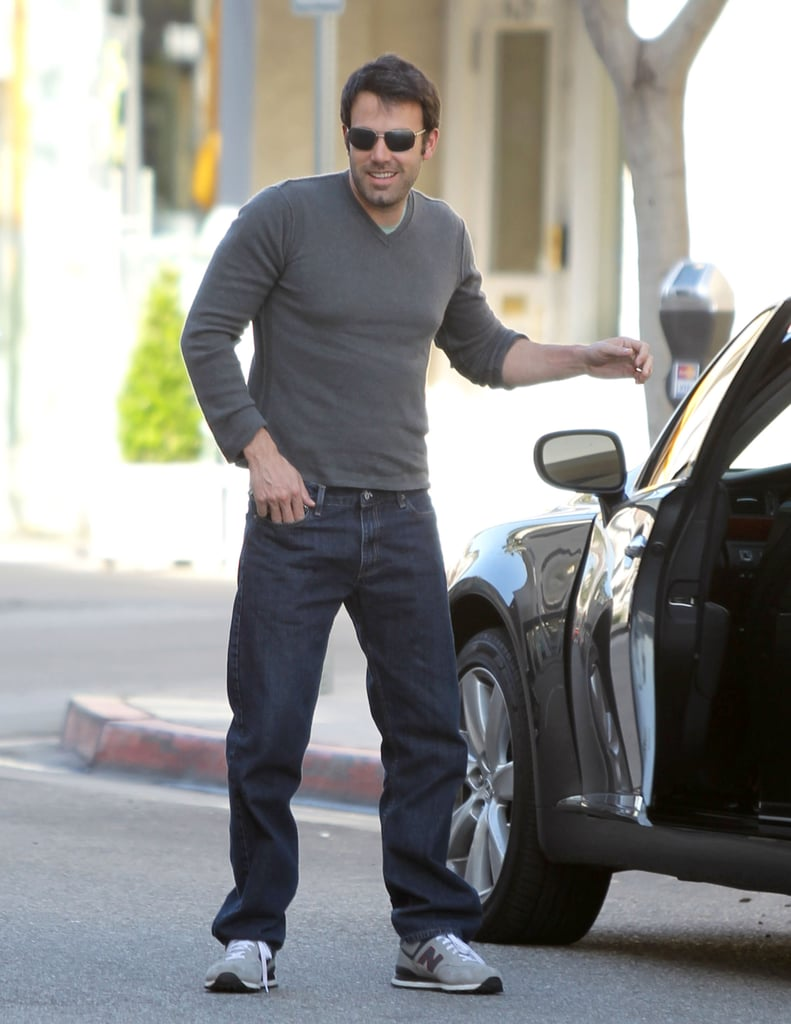 Ben Affleck was out and about in Beverly Hills Thursday in a snug sweater and shades. The actor has been hanging out close to home this month, celebrating wife Jennifer Garner's 39th birthday with a backyard BBQ and a family dinner. The movie star pair are enjoying downtime with their daughters, Violet and Seraphina, after a hectic Winter of work. Ben's in the running for favorite celebrity dad in our 2011 PopSugar 100 — be sure to cast your vote for your number one famous father for a chance to win a great prize! Jennifer spent much of the season tied up promoting her role in Arthur and filming The Odd Life of Timothy Green, while Ben was busy scouting locations for his upcoming directorial project, Argo, across the Middle East. He seems to be enjoying his current break from acting, as rumors that Ben would play Tom Buchanan in Baz Luhrmann's planned remake of The Great Gatsby were dispelled recently.