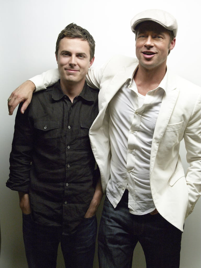 Brad Pitt put his arm around co-star Casey Affleck during a portrait session for their 2007 historical piece The Assassination of Jesse James by the Coward Robert Ford.