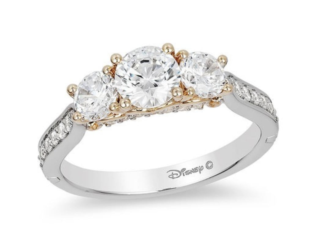 v enchanted tw diamond collar disney in t ct frame cinderella engagement gold twotone rings w p ring two
