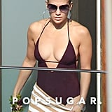 Jennifer Lopez wore a low-cut swimsuit.