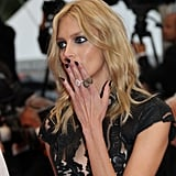 Anja Rubik paired her boho-cool Roberto Cavalli gown with two gorgeous rings at the Cannes Film Festival.