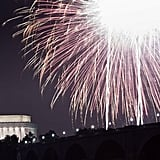 Fireworks light up the sky in Washington DC on the Fourth of July.