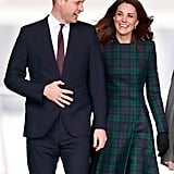 January: Kate and Will cheerfully greeted the crowd as they visited Dundee, Scotland.