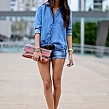 This styler took the less-is-more approach to styling out denim on denim.