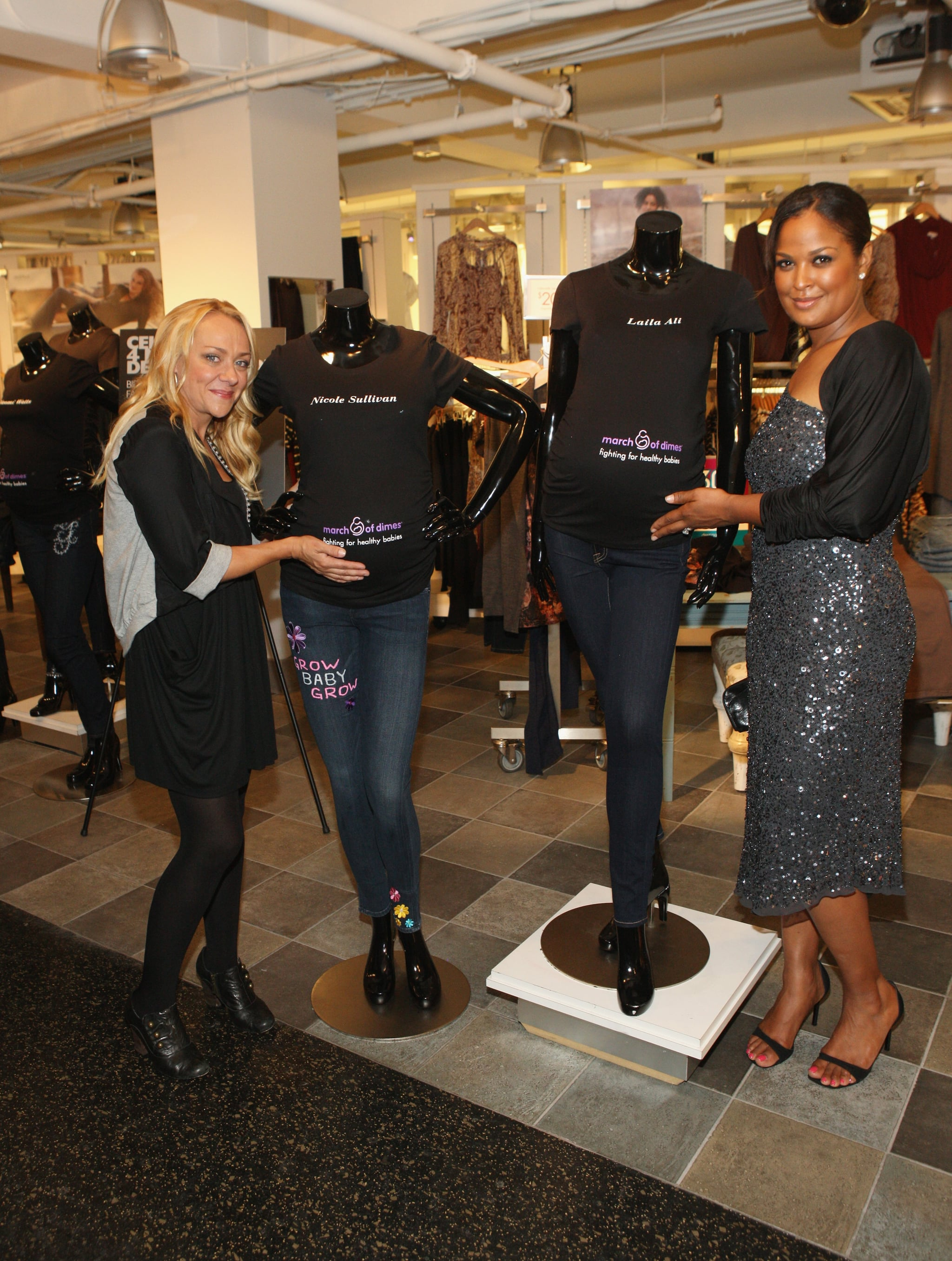 "Ali and Sullivan posed with their one-of-a-kind maternity jeans for the ""Celebrities 4 Maternity Denim"" online auction benefiting the March of Dimes."
