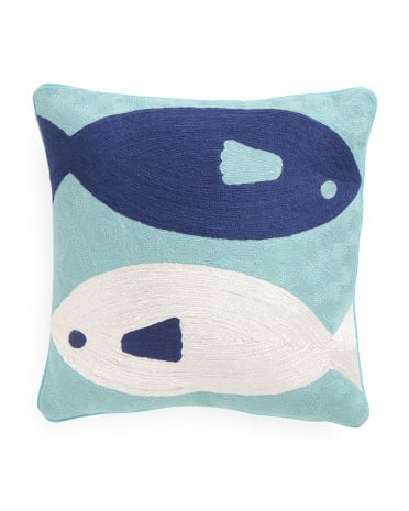 "16""x16"" French Knot Embroidered Fish Pillow ($25)"