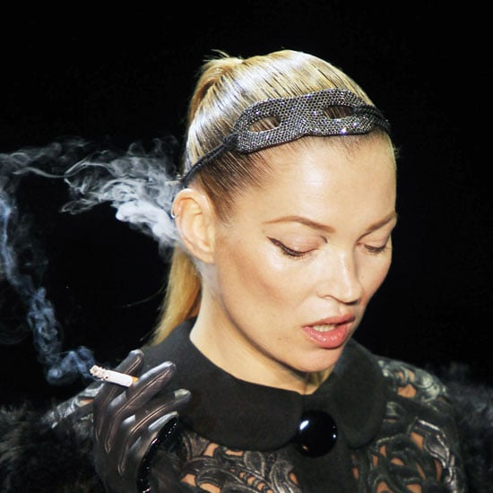 Pictures of Kate Moss Smoking on Her Runway Return at Louis Vuitton A/W 2011!