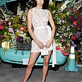 For the Tiffany & Co. Paper Flowers event, Kendall ditched her bra and wore another jaw-dropping nearly-naked look. She rocked a super-sheer minidress by Elie Saab, which featured embellished patchwork and a sash tied around the waist. The 22-year-old model accessorized her outfit with an adorable mini bag from Jacquemus and jewels from Tiffany & Co.