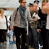 Jennifer Garner chatted with a friend at LAX.