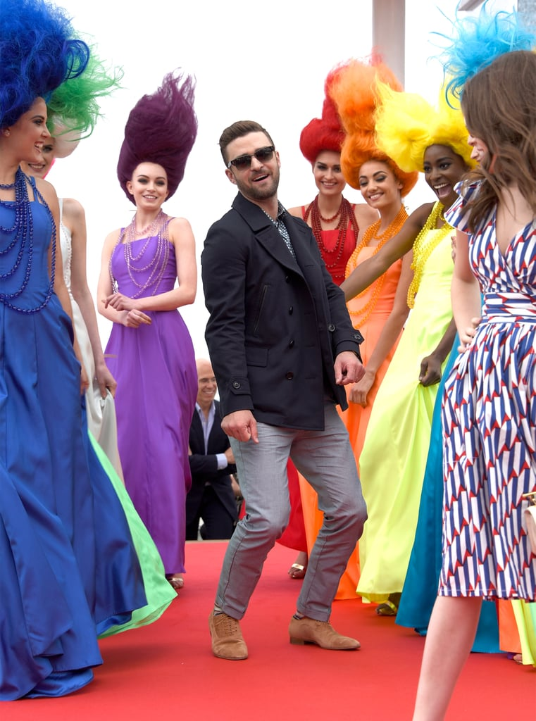 "Justin Timberlake was really on a roll! The singer and actor hit the red carpet in style with Anna Kendrick at the photocall for their animated film, Trolls, at the Cannes Film Festival. Justin was his usual, well, animated self as he posed for photos solo and with Anna, and even stopped to bust a move with the group of women dressed as real-life Troll dolls. That day, the duo also performed a stunning cover of Cyndi Lauper's ""True Colors"" during a promotional event. It's already been busy for Justin, who released the Summer jam ""Can't Stop the Feeling"" from the Trolls soundtrack and zipped overseas to help promote the flick. He popped up in London with Anna to attend the BAFTA Television Awards on Sunday, but still made time to wish his wife, Jessica Biel, a happy Mother's Day via social media. The next day, Justin visited the BBC Radio studios and played a hilarious game with Capital FM hosts, poking fun at his infamous ""It's Gonna Be May"" meme. Keep reading to see Justin's latest photos from Cannes!"