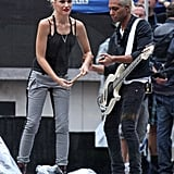 Gwen Stefani and No Doubt rehearsed at Rockefeller Center in NYC.