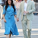 Meghan Markle in a Blue Dress With Prince Harry in Cape Town, South Africa