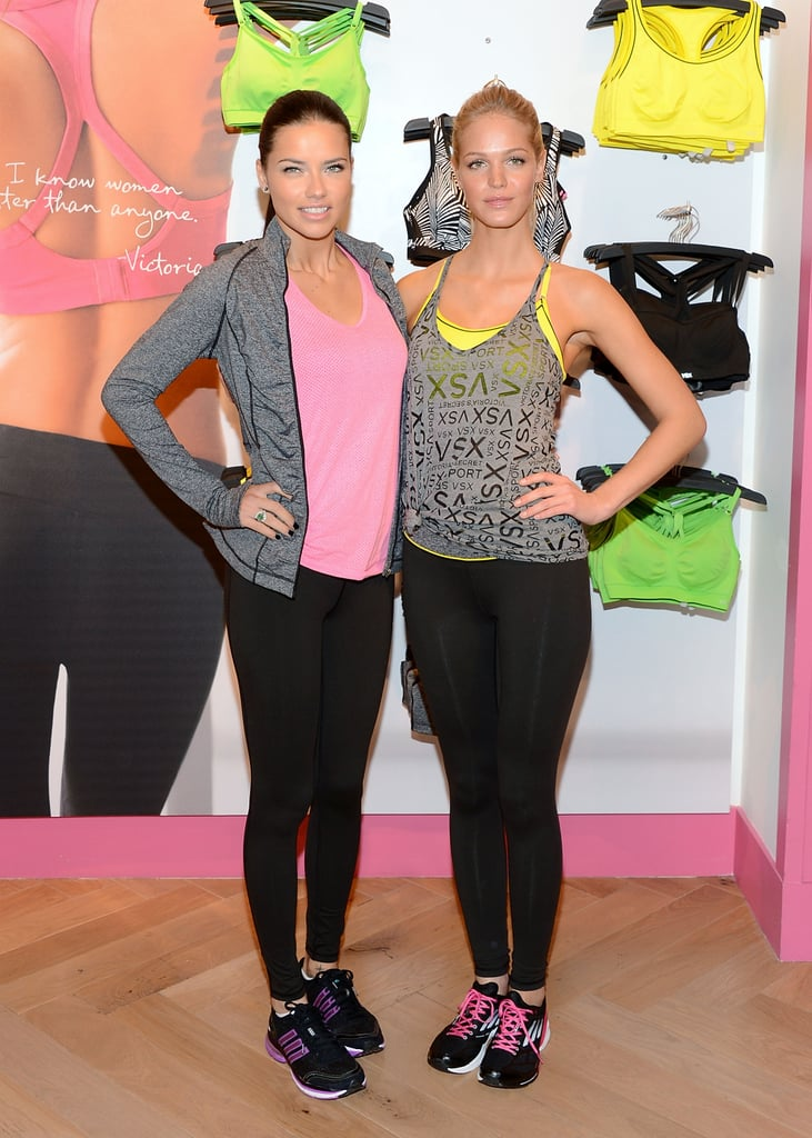 Adriana Lima and Erin Heatherton posed side by side at the VSX launch for Victoria's Secret in NYC.