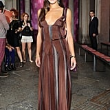 Margherita Missoni attended the Missoni show wearing a pretty brown and blue pleated gown.