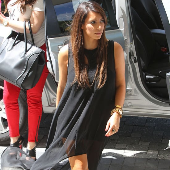 Kim Kardashian Wearing Black High-Low Dress