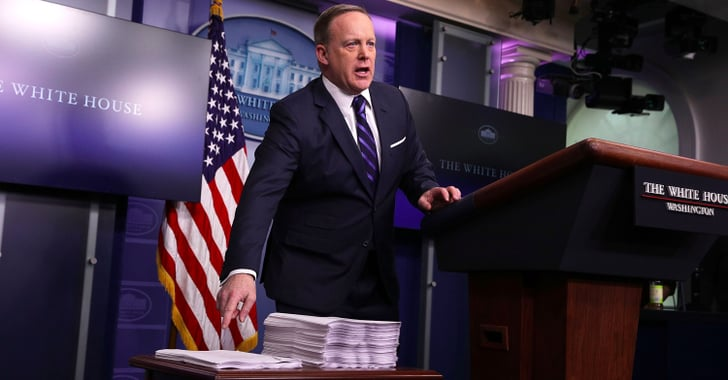 Spicer Compares Healthcare Acts With Stacks of Paper | POPSUGAR News