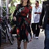 Jessica Alba in yet another stunning number, this time a floral Dolce & Gabbana. Love the badass platforms too.
