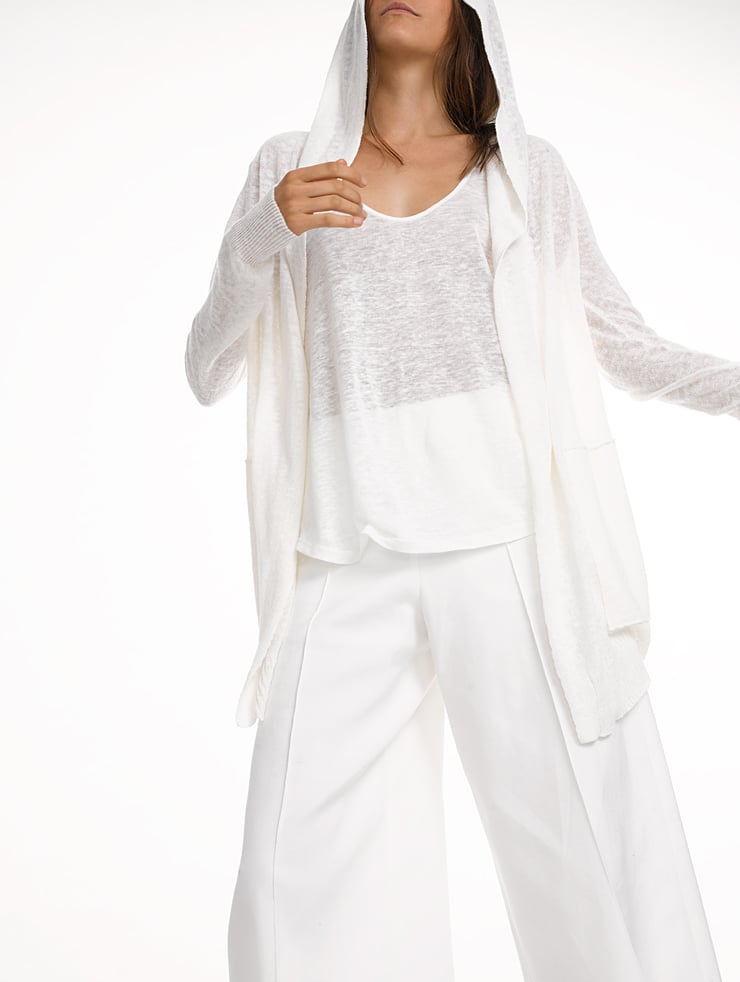 A cozy cardigan is nice, but White + Warren's Cotton Cardigan ($185) is equipped with a hood.