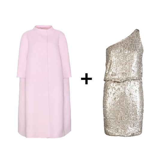 For an even chicer take on this outfit combo, opt for a softer pale pink coat against a more relaxed-fit sequined dress. We especially love this one from Halston Heritage. Get the look:  Jil Sander virgin wool coat ($3,229) Halston Heritage one-shoulder sequined dress (rent for $75)