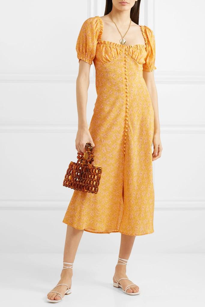 Rixo Tammy Ruffled Floral-Print Silk-Georgette Dress ($500.50)