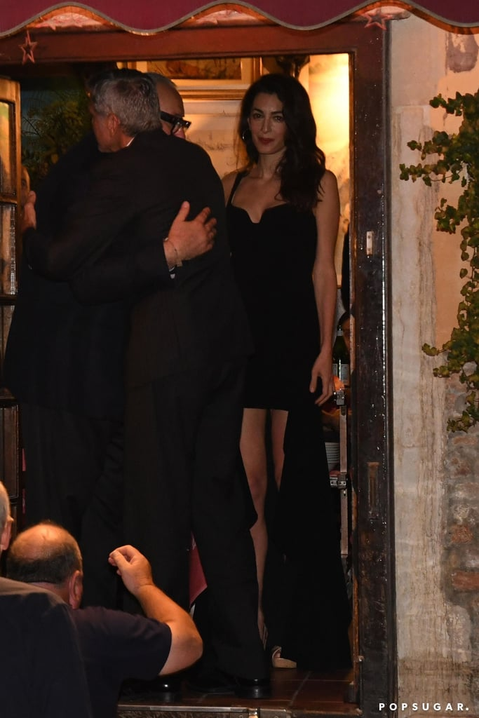 Amal Clooney Wears Black Dress in Italy June 2019