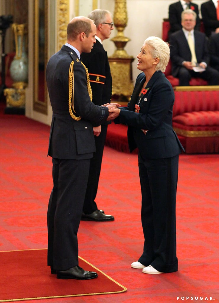 "Emma Thompson may be one of the biggest stars in Hollywood, but even she gets starstruck over royalty. During an investiture ceremony at Buckingham Palace on Wednesday, the British actress just couldn't hide her excitement when she received her damehood from Prince William. As the two came face to face, she threw royal protocol out the window and adorably tried to sneak a kiss. ""I love Prince William,"" she said about the royal. ""I've known him since he was little, and we just sniggered at each other. I said, 'I can't kiss you, can I?' And he said, 'No don't!'"" A woman after our own heart, to be honest.  The actress was also joined by her family for the special occasion. Following the ceremony, she posed alongside her husband, Greg Wise, her daughter, Gaia, and her son, Tindyebwa Agaba, who she adopted in 2004. Along with her medals, the actress also proudly sported a badge for the Fawcett Society, which raises awareness for equal pay. See more photos from Dame Emma Thompson's big day ahead.       Related:                                                                                                           20 Celebrities Recounting Their Best (and Most Awkward) Interactions With the Royal Family"