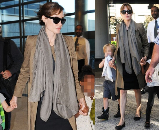 Pictures of Angelina Jolie with Shiloh and Zahara at LAX