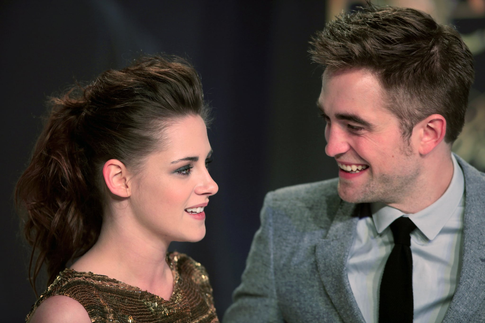 US actress Kristen Stewart (L) and British actor Robert Pattinson pose prior to the German premier of