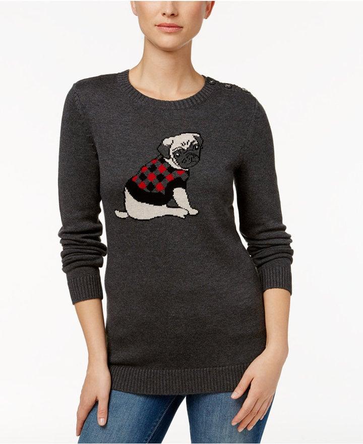 Charter Club Pug Graphic Sweater, ($60)