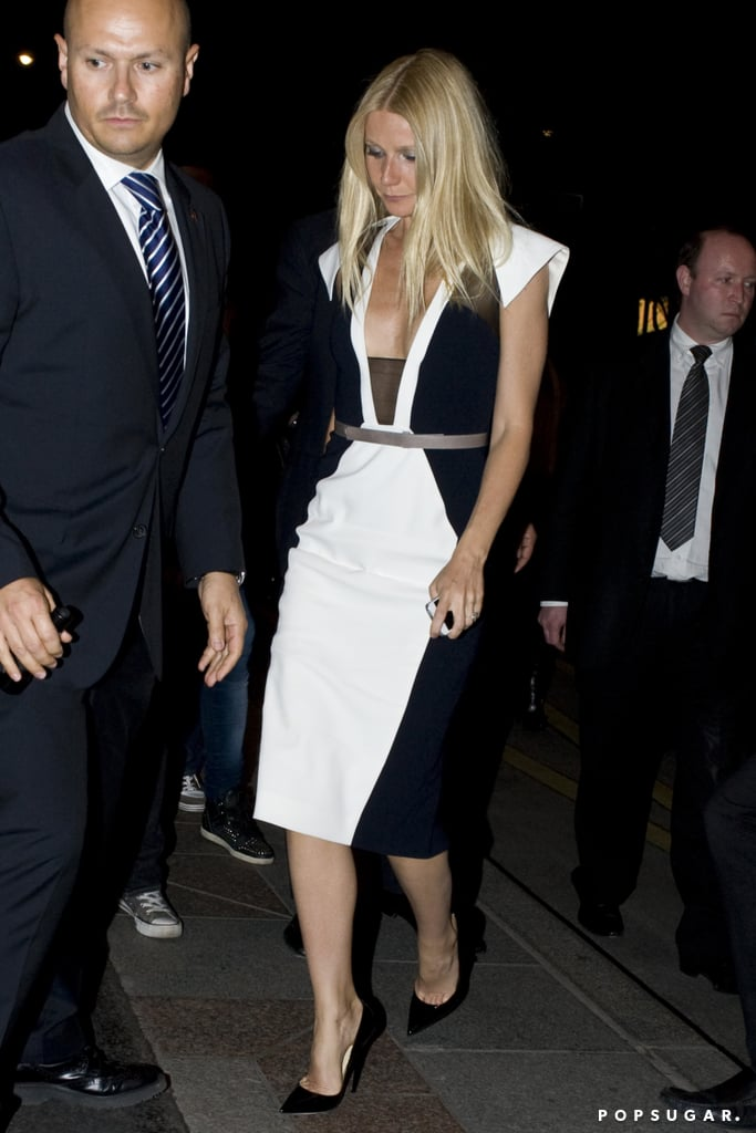 Gwyneth Paltrow wore a black and white dress in Paris.