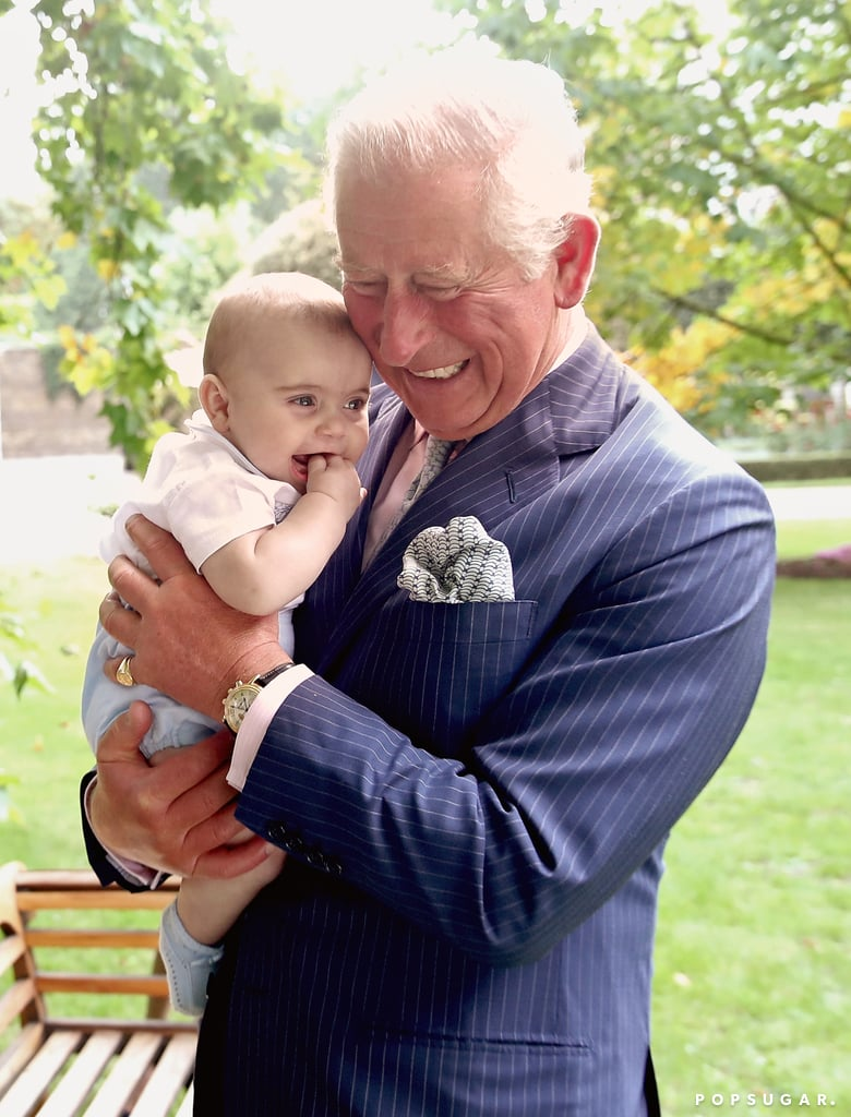 "It's not even Christmas yet, but the royal gifts just keep coming! After the British royal family released a series of new photos for Prince Charles's 70th birthday last week, Clarence House unveiled another batch of never-before-seen photos on Monday. In one of the shots, we get a closer look at Charles's adorable bond with his youngest grandchild, Prince Louis, as the two cuddle up and flash sweet smiles for the camera. In another one, Louis is shown playfully grabbing Charles's face while Kate Middleton, Prince William, Prince Harry, and Meghan Markle happily look on. We also get a peek at Charles's home life, as the royal is pictured driving his blue Aston Martin DB6 Volante, feeding chickens, and spending quality time with Queen Elizabeth II and Princess Anne at Buckingham Palace.  Charles officially marked his 70th birthday on Nov. 14, and to celebrate, the queen threw her son the ultimate birthday bash at Buckingham Palace. During the party, Elizabeth gave a toast to her son, calling him ""a great, charitable leader,"" but she also couldn't resist poking some fun at his age. Check out the royal portraits ahead!      Related:                                                                                                           The Royals Re-Created a Memorable Princess Diana Moment For Prince Charles's Birthday Portrait"