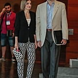 Queen Letizia wearing Hugo Boss pants.