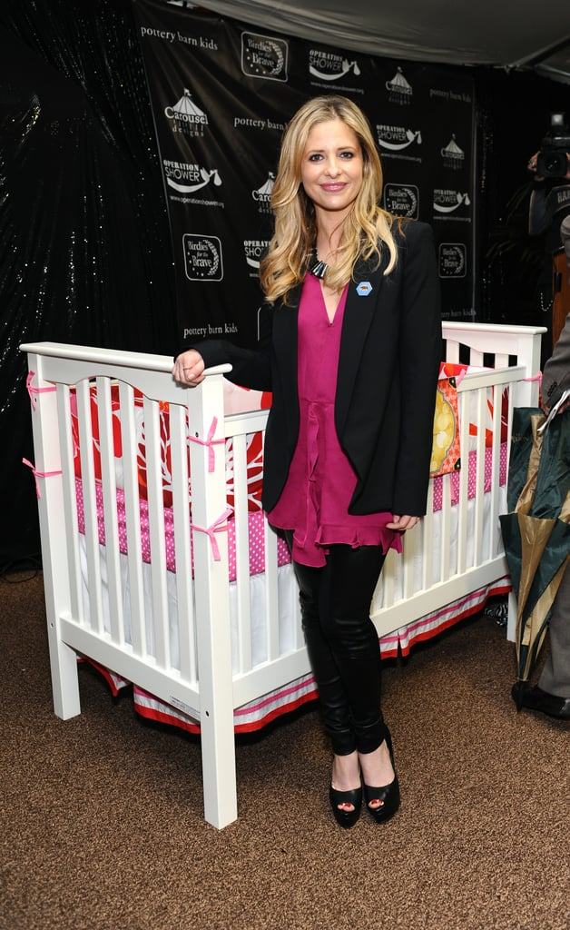 Sarah Michelle Gellar was on hand at the Riviera Country Club in Pacific Palisades, CA, this morning for Operation Shower. The actress played host at the event, which honored military moms whose husbands are currently deployed, and capped things off by giving each woman in attendance a new crib. The free furniture came from Pottery Barn Kids, the organization SMG was representing in her role today. We had a chance to chat with the Ringer star and mom during the festivities. Sarah Michelle told us it was the second baby shower she's thrown this week, having also hosted a soiree for her best friend, who joined her for today's celebration.  Many of the women in attendance today were expecting, and we asked Sarah Michelle if her 2-year-old daughter with Freddie Prinze Jr., Charlotte, has been asking for a little brother or sister lately. She told us her toddler is actually much more focused on bringing home a kitten than a new baby! Unfortunately, SMG told us she's allergic to cats but says a pet could still likely be the next addition to their family of three. Stay tuned to catch our full interview with her in today's PopSugar Rush!