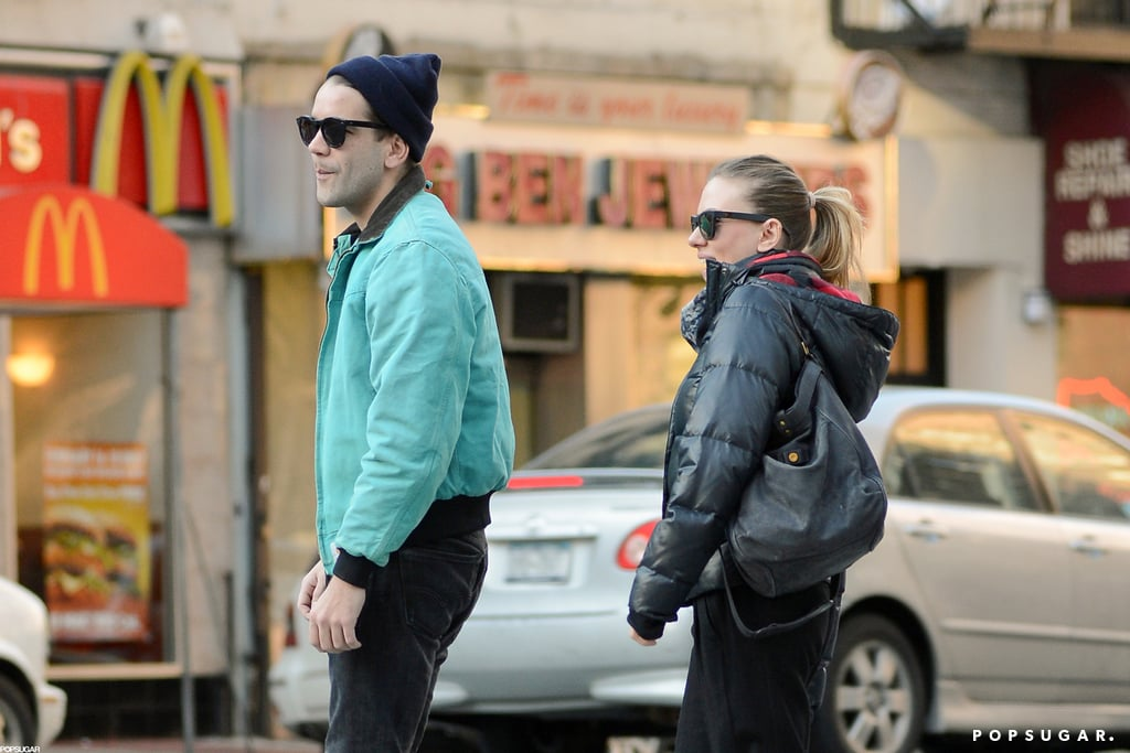 Scarlett Johansson and Romain Dauriac crossed a street in NYC.