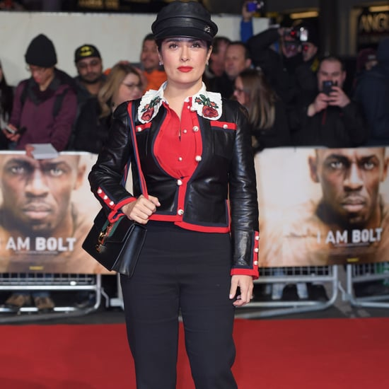 Salma Hayek Wearing a Gucci Jacket at the I Am Bolt Premiere