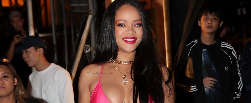Rihanna Wearing Pink Dress Over Orange Pants in Seoul Korea