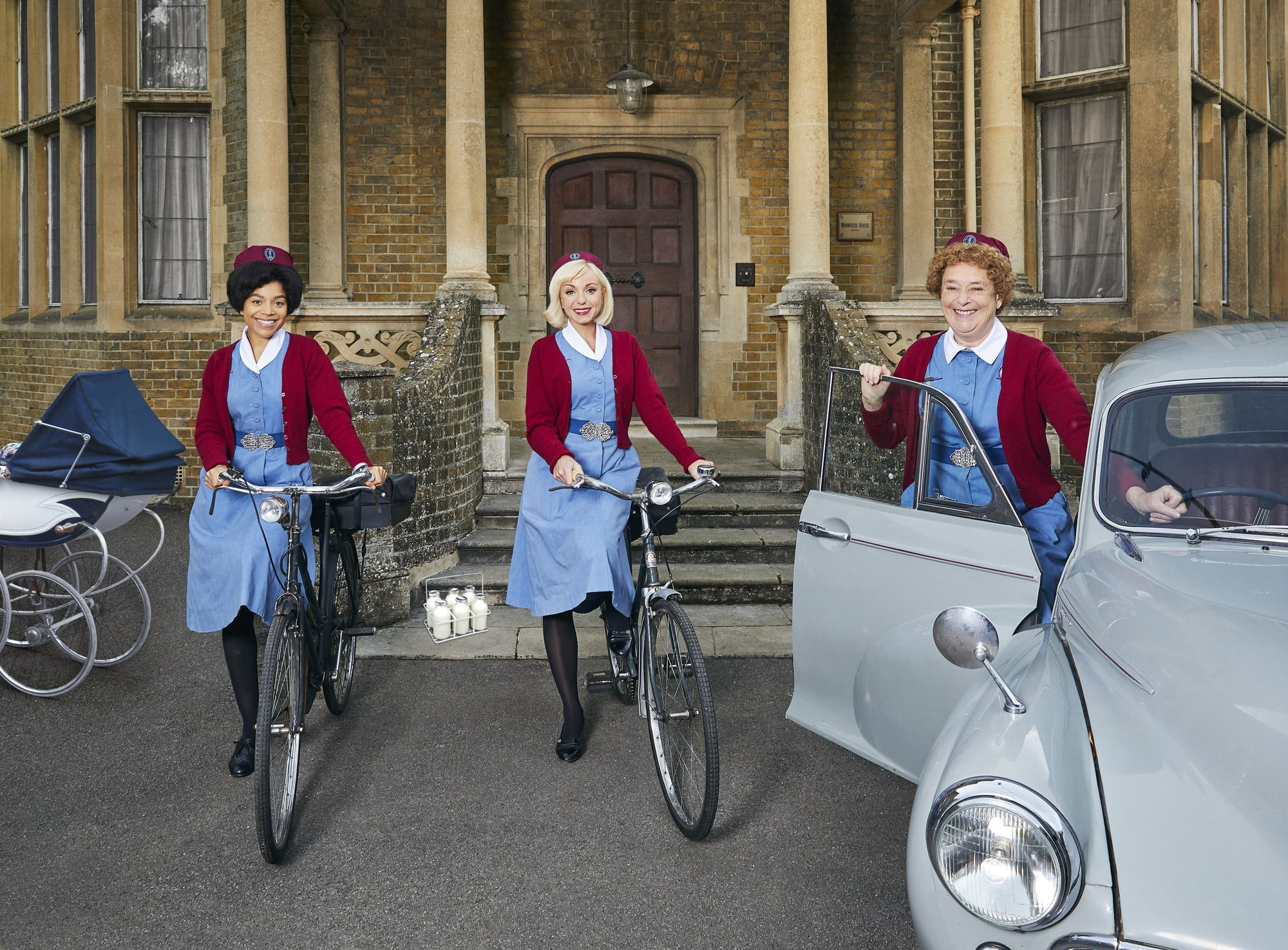 WARNING: Embargoed for publication until 00:00:01 on 20/03/2021 - Programme Name: Call the Midwife - S10 - TX: n/a - Episode: Call The Midwife - S10 - Generics (No. n/a) - Picture Shows:  Nurse Phyllis Crane (LINDA BASSETT), Nurse Trixie (HELEN GEORGE), Nurse Lucille Anderson  (LEONIE ELLIOTT) - (C) Neal Street Productions - Photographer: Nicky Johnston
