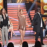 Jennifer Lopez, Randy Jackson, and Steven Tyler on the American Idol stage.