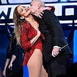 Jennifer Lopez and Pitbull at the 2014 American Music Awards