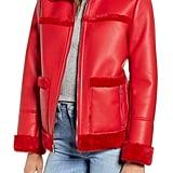 Sam Edelman Faux Fur Trim Faux Leather Jacket