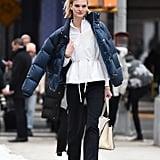 Winter Outfit Idea: A Classic Button-Down Shirt Under a Puffer Jacket
