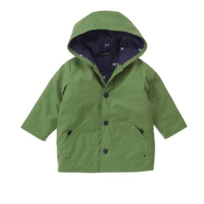 Green Hooded Rain Jacket $52