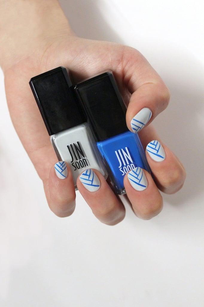 One Line Nail Art : Blue and white nail art diy popsugar beauty