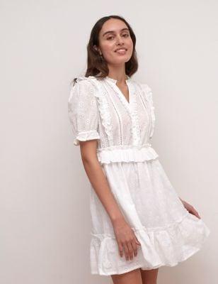 Nobody's Child Pure Cotton Broderie V-Neck Mini Tea Dress