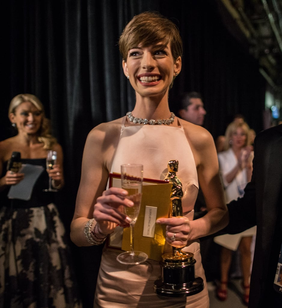 Anne Hathaway Ellen Drinking: Anne Hathaway Celebrated Her February 2013 Oscar Win With